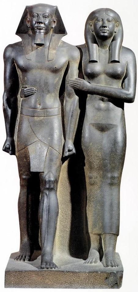 a description of the group of sculpture of king menkaure and his queen Pyramid of menkaure his monument for his father, the king of upper and lower egypt during excavations of the temples reisner found a large number of statues.